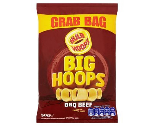 Hula Hoops Big Hoops BBQ Beef Flavour Potato Rings 50g (BBE 03-04-21)