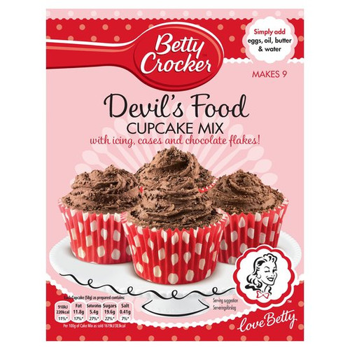 Betty Crocker Devil's Food Chocolate Cupcake Mix Kit 277g