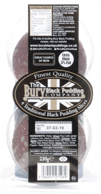 The Bury Black Pudding Company 4 Traditional Black Pudding Slices 230g FROZEN from FRESH