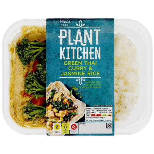 M&S Plant Kitchen Green Thai Curry & Rice (Serves 1)
