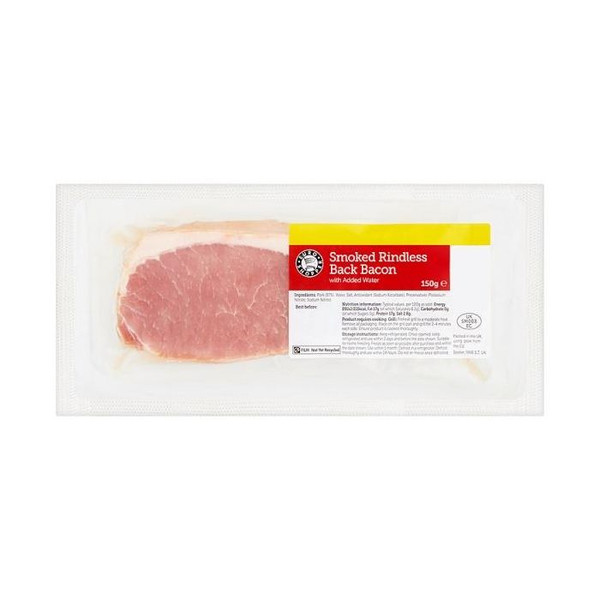 Smoked Rindless Back Bacon (4-5 Rations) 150g
