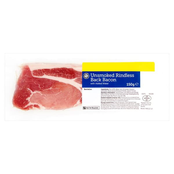 Unsmoked Rindless Back Bacon (4-5 Rations) 150g