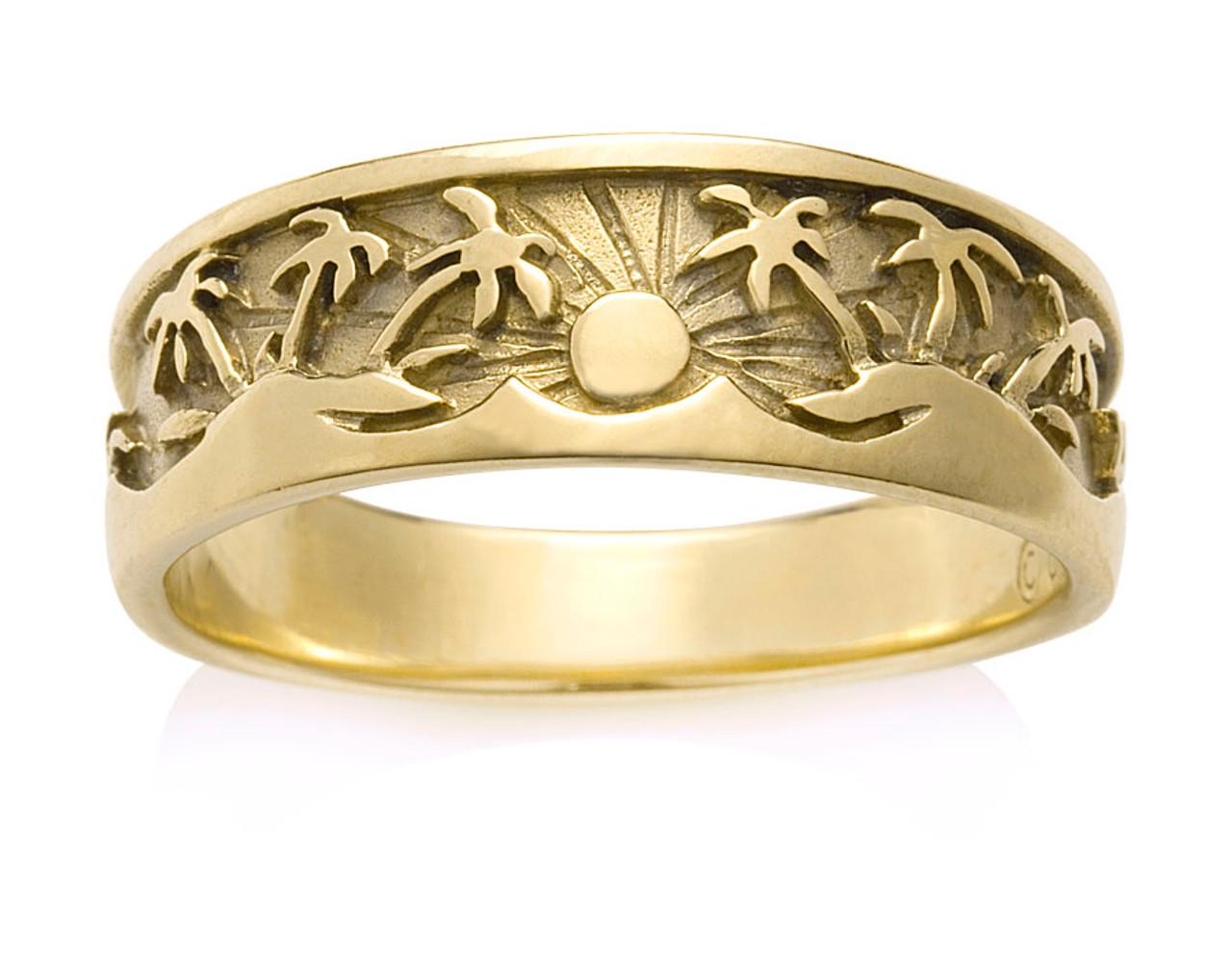 138G - Men's Tropical Palm Tree Ring