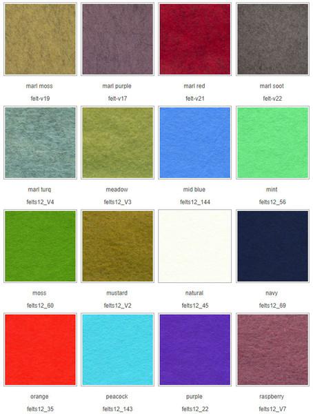 Chart 3 Wool Mix Felt squares 12″ (30cm)