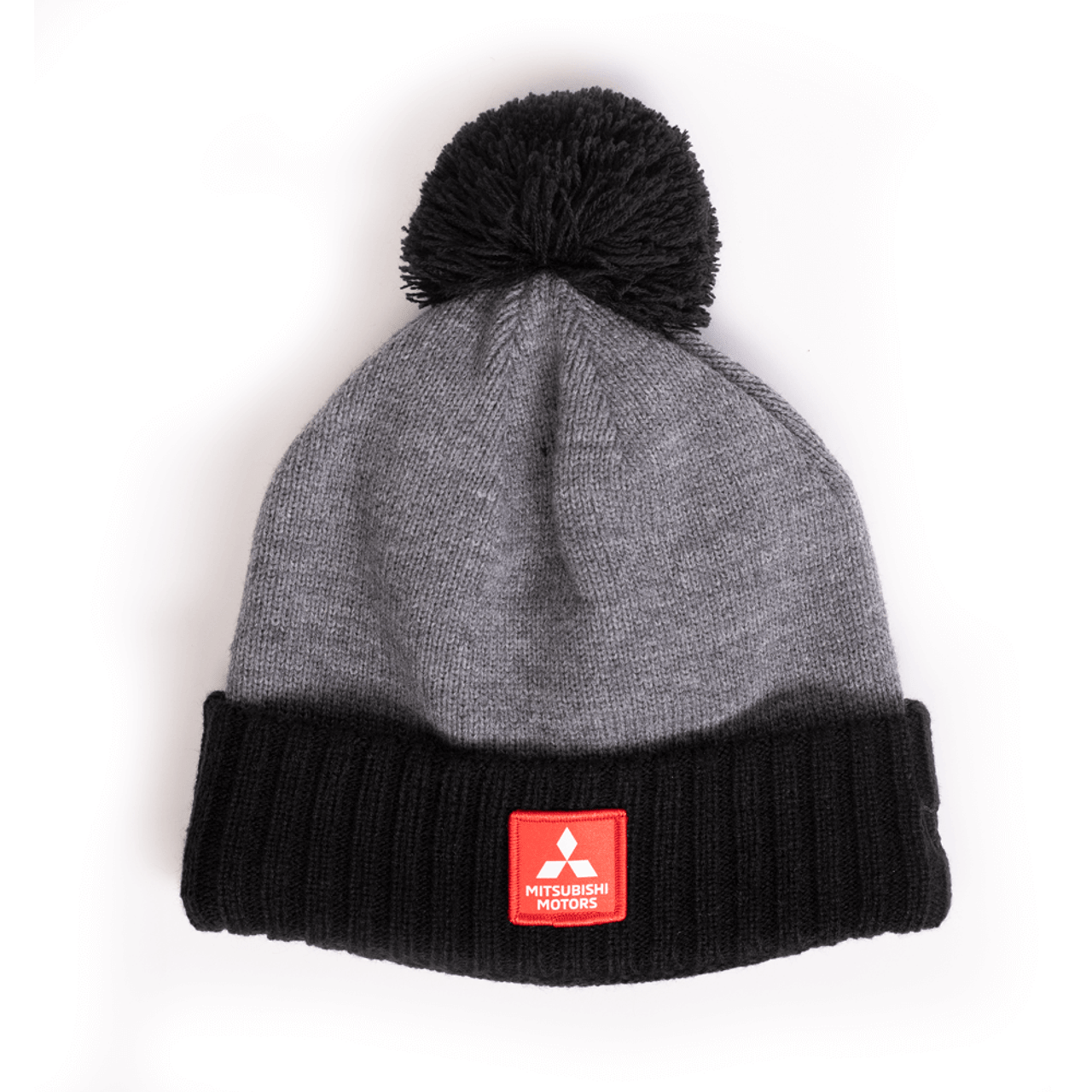 Grey and Black Beanie with Poof