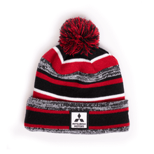 Striped Beanie with Poof