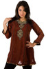 Brown-Anarkali Style Kurti with contrast colored patchwork and embroidery