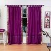Violet Red  Tab Top  Sheer Sari Curtain / Drape / Panel  - Pair