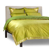 Olive Green-5 Piece Handmade Sari Duvet Cover Set with Pillow Covers / Euro Sham