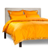 Pumpkin - 5 Piece Handmade Sari Duvet Cover Set with Pillow Covers / Euro Sham