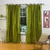 Olive Green  Tie Top  Sheer Sari Curtain / Drape / Panel  - Pair