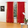 Fire Brick Rod Pocket  Sheer Sari Curtain / Drape / Panel  - Pair