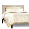 Cream - 5 Piece Handmade Sari Duvet Cover Set with Pillow Covers / Euro Sham