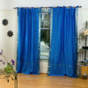 Enchanting Blue  Tie Top  Sheer Sari Curtain / Drape / Panel  - Piece