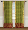 2 Green Bohemian Indian Sari Curtains Rod Pocket Living Room  Window Treatment