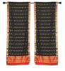 2 Black Bohemian Indian Sari Curtains Rod Pocket Living Room  Window Treatment