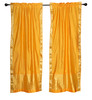 2 Boho Yellow Indian Sari Curtains Rod Pocket Window Panels Drapes