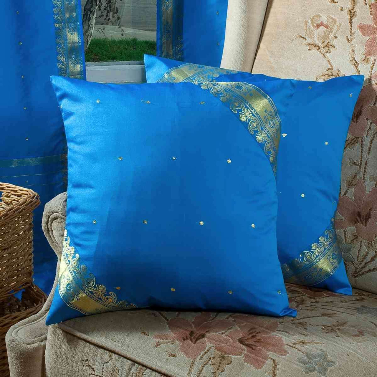 Enchanting Blue Handcrafted Cushion Cover Throw Pillow Case Euro Sham 6 Sizes Indian Selections