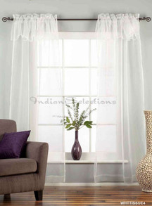 "White Rod Pocket w/ attached Valance Sheer Tissue Curtain/Drape/Panel-84""-Piece"