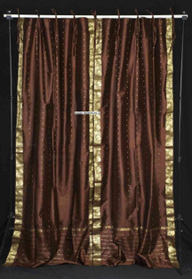 Brown  Tie Top  Sheer Sari Curtain / Drape / Panel  - Piece