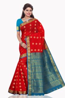 Khushi Red with Blue Art Silk Sari Saree Bellydance Wrap