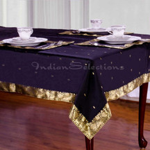 Black - Handmade Sari Tablecloth (India)
