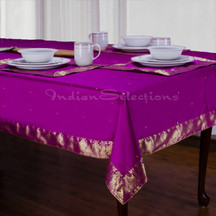 Violet Red - Handmade Sari Tablecloth (India)