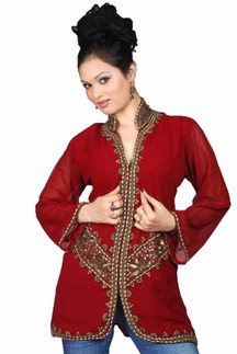 Burgundy long sleeves Kurti/Tunic with jacket style beadwork