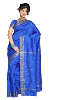 Enchanting Blue Art Silk Saree Sari fabric India Golden Border