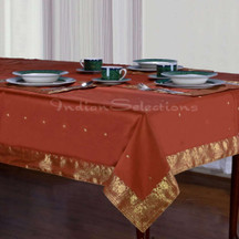Rust - Handmade Sari Tablecloth (India)