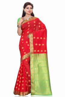 Smriti Red Art Silk Sari Saree Bellydance Wrap