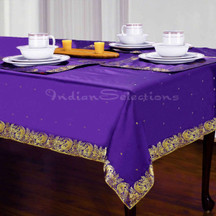 Purple - Handmade Sari Tablecloth (India)