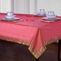 Pink - Handmade Sari Tablecloth (India)