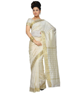 Cream Art Silk Saree Sari fabric India Golden Border