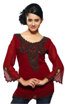 Maroon colored georgette Kurti with antique style beadwork.