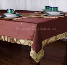 Brown - Handmade Sari Tablecloth (India)