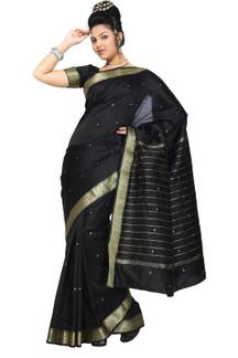 Black Art Silk Saree Sari fabric India Golden Border