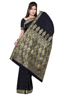 Black - Benares Art Silk Sari / Saree/Bellydance Fabric (India)