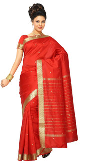 Spicy Red Art Silk Saree Sari fabric India Golden Border