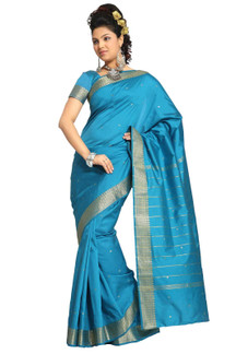 Turquoise Art Silk Saree Sari fabric India Golden Border
