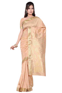 Golden -  Benares Art Silk Sari / Saree/Bellydance Fabric (India)