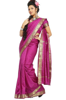 Violet Red Art Silk Saree Sari fabric India Golden Border