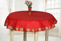 Fire Brick  - Handmade Sari Tablecloth (India) - Round