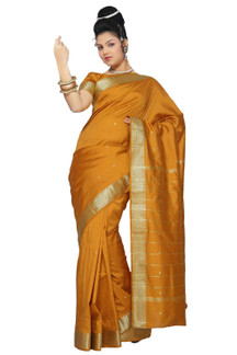 Mustard Art Silk Saree Sari fabric India Golden Border