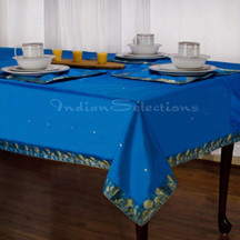 Blue - Handmade Sari Tablecloth (India)