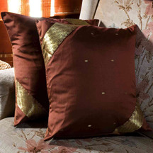 Brown-Decorative handcrafted Cushion Cover, Throw Pillow case Euro Sham-6 Sizes