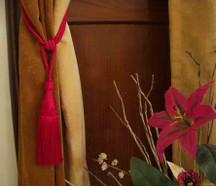 Red handmade Curtain Tieback / Tiebacks / Tassel - Pair