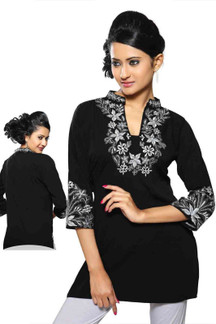 Black crepe kurti with contrast colored embroidery work.