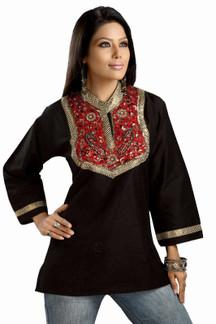 Black Art silk beaded patchwork Kurti