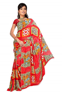 Banhi Georgette Printed Casual Saree Sari Bellydance fabric